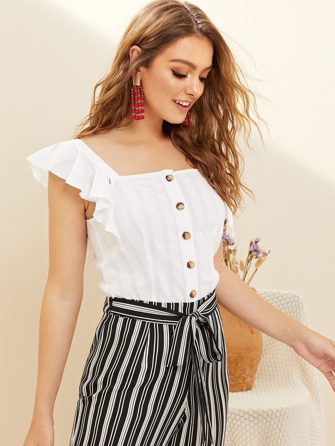 Ruffle Trim Button Front Top by Romwe