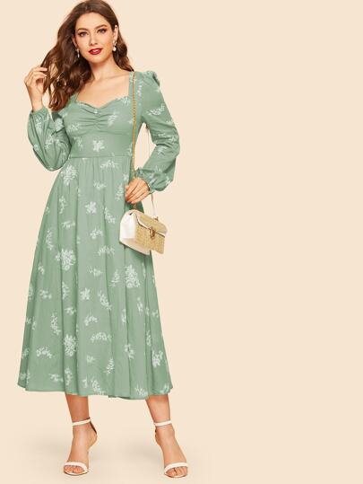 Ruched Front Lantern Sleeve Floral Dress