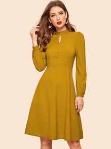 Keyhole Neck Covered Button Detail Dress