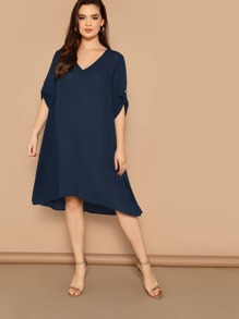 Plus Roll-up Sleeve Dip Hem Tunic Dress