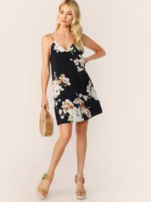 Double V-neck Botanical Print Cami Dress