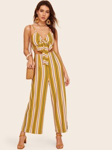 Striped Crop Wrap Cami & Wide Leg Pants Set
