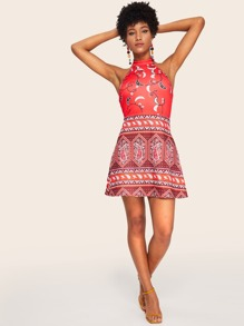 Tribal Print Backless Halter Dress