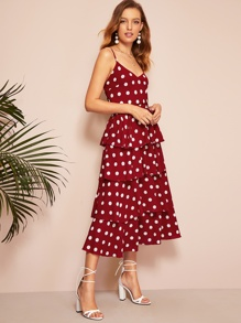 Polka Dot Layered Hem Cami Dress
