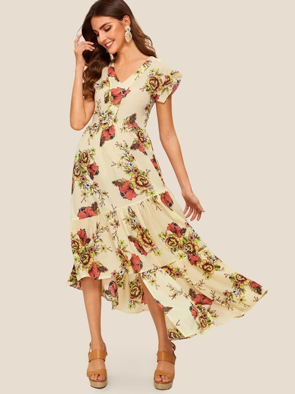 19465de4c Vestido bajo asimétrico con estampado floral