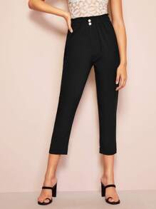 Solid Frill Trim Button Detail Pants
