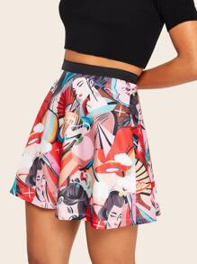 Cartoon Print Skirt