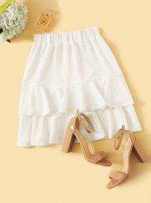 Solid Tiered Ruffle Hem Skirt