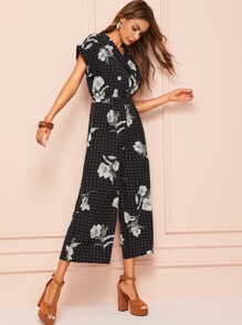Floral Print High Waist Jumpsuit