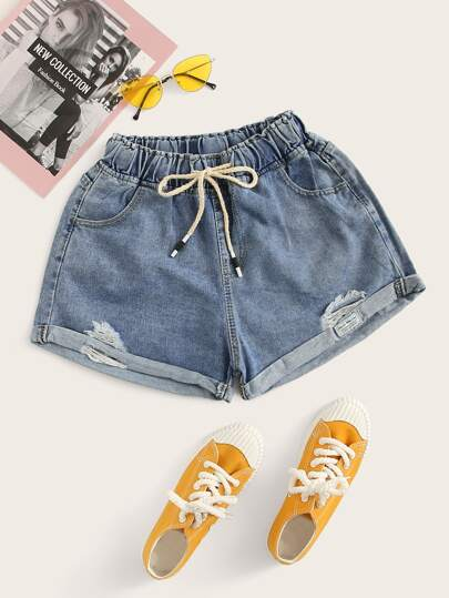 ce1930f3ff Ripped Rolled Hem Elastic Waist Denim Shorts out