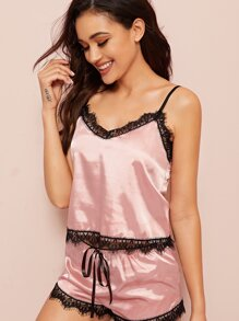 Lace Trim Satin Cami PJ Set