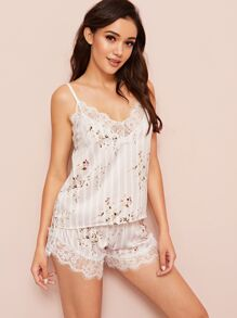 Floral Print Eyelash Lace Satin PJ Set