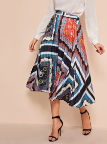 Graphic Print Elastic Waist Skirt