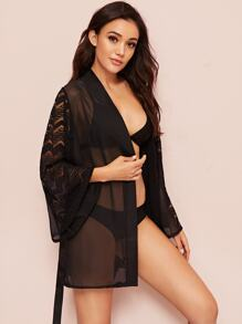 Contrast Lace Belted Sheer Robe Without Lingerie Set