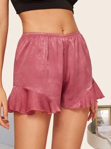 Ruffle Hem Satin Sleep Shorts