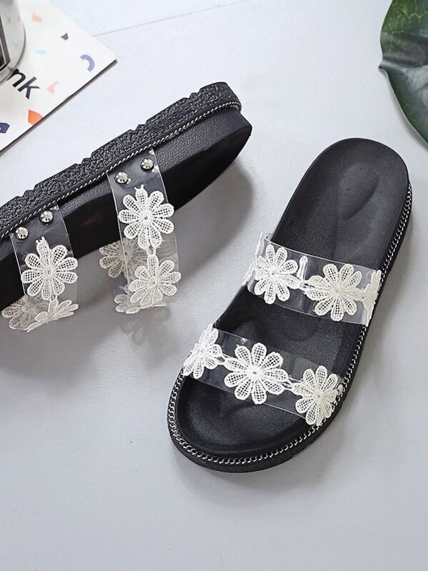 f00eb4fd569c Open Toe Contrast Floral Patch Sliders