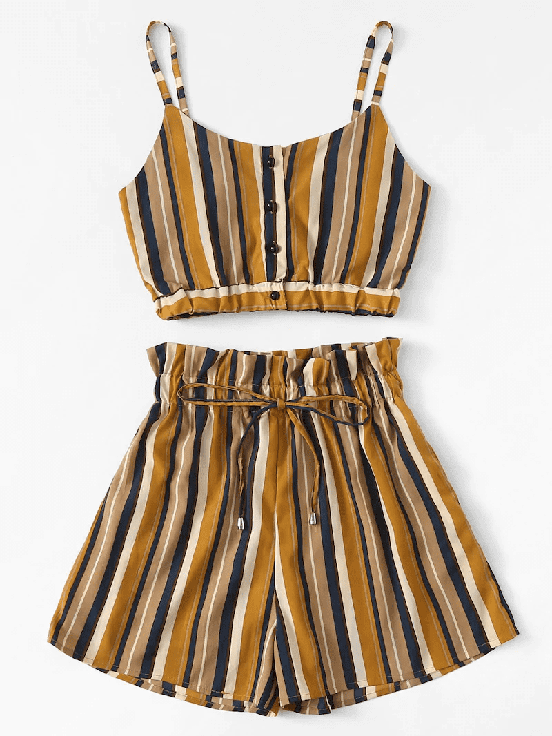 Plus Button Striped Cami Top With Shorts