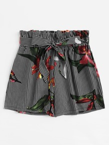 Plus Floral Print Striped Shorts