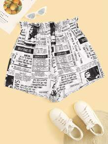 Plus Newspaper Print Frill Waist Shorts
