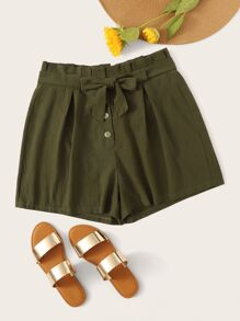 Plus Button Self Tie Shorts