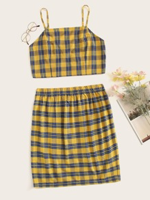 Plus Plaid Cami Top With Skirt