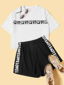 Plus Letter Taped Top With Shorts