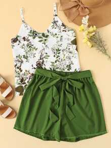 Plus Floral Print Cami Top With Knot Shorts
