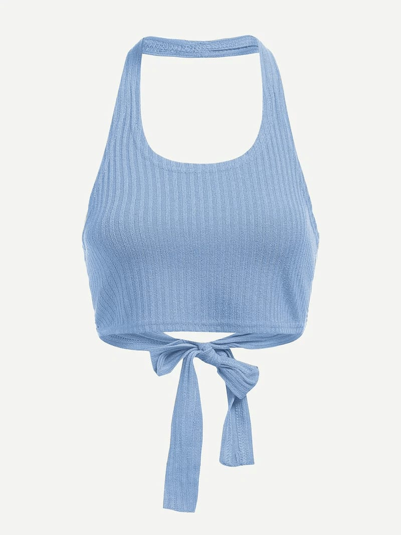 Plus Halter Knot Ribbed Top
