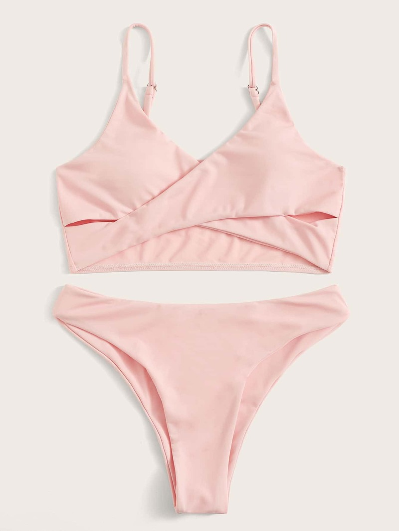 6e1dc13d5b714b Criss Cross Top With Panty Bikini Set | ROMWE