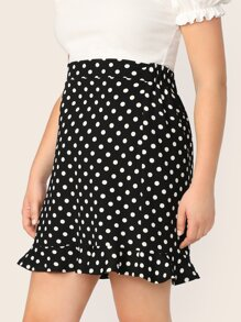 Plus Ruffle Hem Polka Dot Skirt