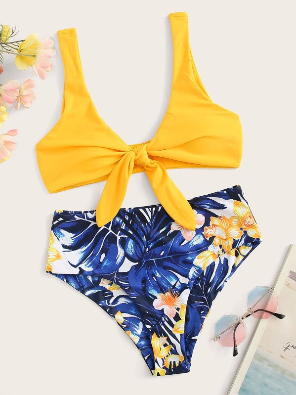 ed8dcbe573 Knot Front Top With Random Tropical Print Bikini Set | SHEIN