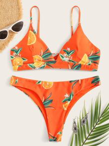Random Orange Print Lace-up Back Bikini Set