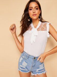 Lace Panel Tie Neck Blouse