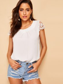 Contrast Lace Cuff Pearl Beaded Blouse