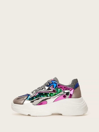 dcddf6ee8064 Ombre Lace-up Chunky Sneakers