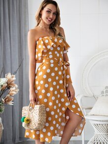Polka Dot Ruffle Trim Belted Tube Dress