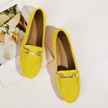 Buckle Decor Neon Loafers