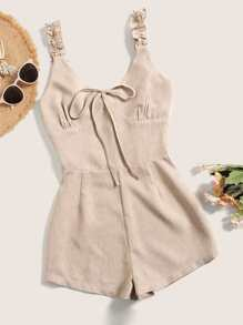 Tie Neck Shirred Back Cami Playsuit