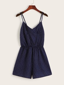 Polka Dot Shirred Back Cami Playsuit