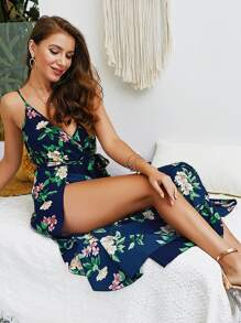 Floral Print Split Side Cami Jumpsuit