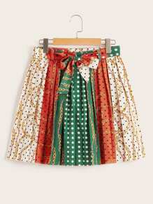 Scarf Print Pleated Belted Skirt