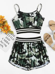 Camo Print Striped Panel Cami Top With Shorts