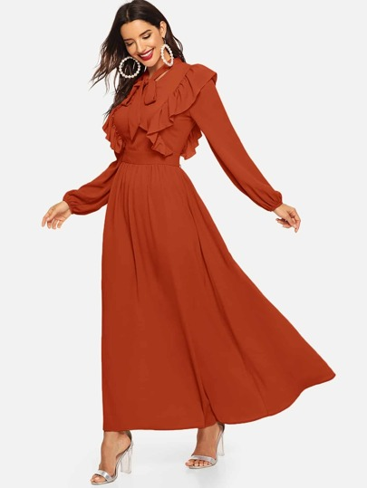 8a9b304374f Tie Neck Ruffle Trim Lantern Sleeve Dress