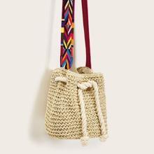Geometric Pattern Strap Crochet Crossbody Bag