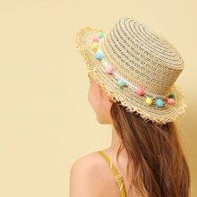 Kids Pom-pom Decor Raw Edge Panama Hat