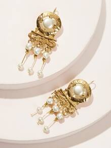 Faux Pearl Fringe Textured Drop Earrings 1pair