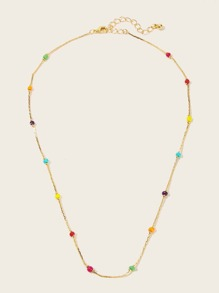 Bead Detail Chain Necklace 1pc