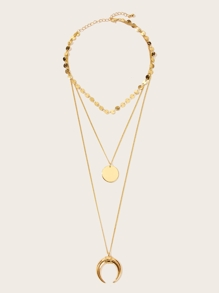 Moon & Circle Pendant Layered Chain Necklace 1pc