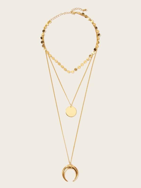 71c4917664 Moon & Circle Pendant Layered Chain Necklace 1pc | SHEIN UK