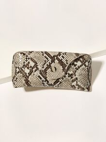 Button Detail Snakeskin Print Glasses Bag